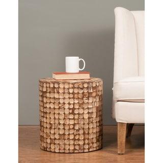 Decorative Harper Modern Tan Round Accent Table