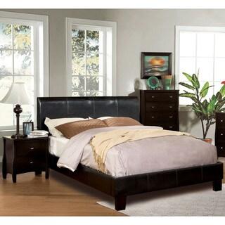 Furniture of America Villazo Espresso 2-piece Bed and Nightstand Set