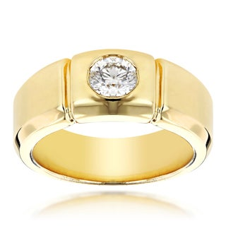 Luxurman 14k Gold Men's 1/2ct TDW Diamond Wedding Ring (H-I, SI1-SI2)