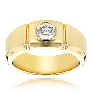 Luxurman 14k Gold Men's 1/2ct TDW Diamond Wedding Ring (H-I, SI1-SI2)