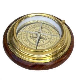Augsburg Desktop Compass with Wooden Base