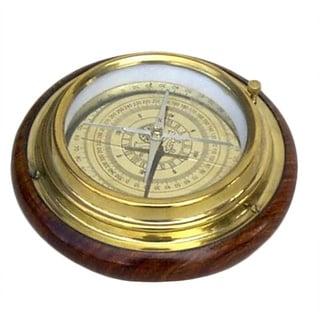 Augsburg Desktop Compass with Wooden Base