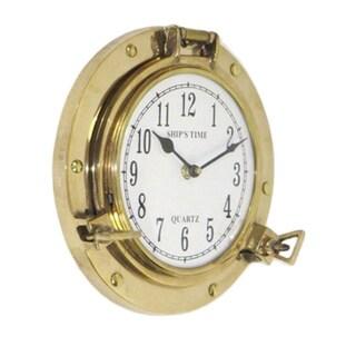 Shiny Brass Port Hole Clock