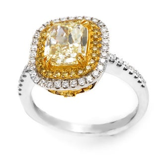 18k Two-tone Gold 2 5/8ct TDW Yellow and White Certified Diamond Engagement Ring (F-G, SI1-SI2) (Size 6.5)