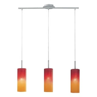 Matte Nickel Finish Red and Orange Glass 3-Light Pendant
