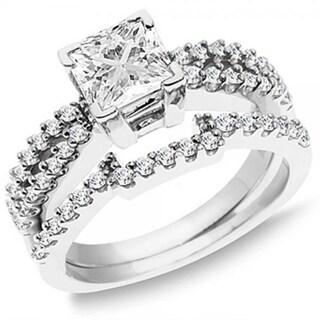 14k White Gold 1 1/2ct TDW Princess and Round Diamond Split Shank Bridal Ring Set (H-I, I2-I3)