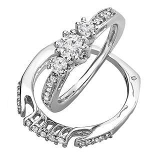 14k White Gold 3/4ct TDW 3-stone Diamond Bridal Ring Set (H-I, I1-I2)