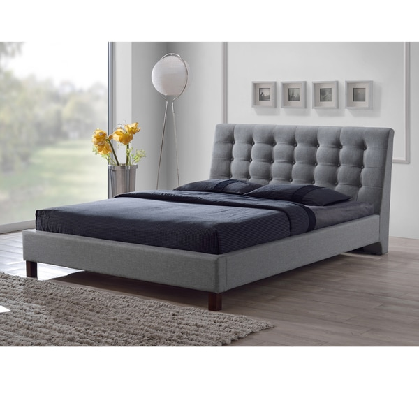 Zeller Grey Modern Upholstered Bed Free Shipping Today Overstock