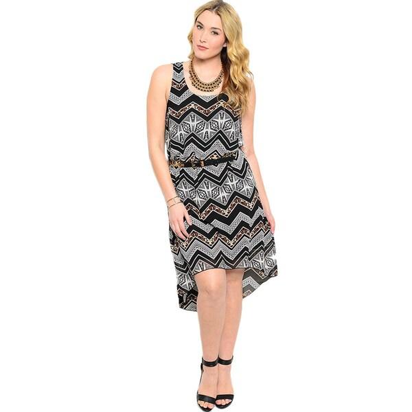 Shop The Trends Women's Plus Size Sleeveless Hi-Low Mixed Zig-zag Pattern Dress