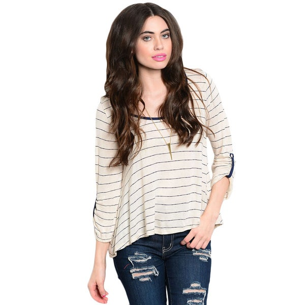 Shop The Trends Women's 3/4 Sleeve Nautical Stripes Jersey Tee