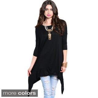 Shop The Trends Women's 3/4 Sleeve Trapeze Knit Tunic Top With Long Sharkbite Hemline