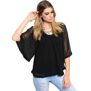 Shop The Trends Women's Shirred Neck 3/4 Sleeve Chiffon Lace Trim Blouse
