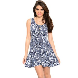 Feellib Women's Sleeveless Mixed Animal/ Geometric Print Fit And Flare Short Dress