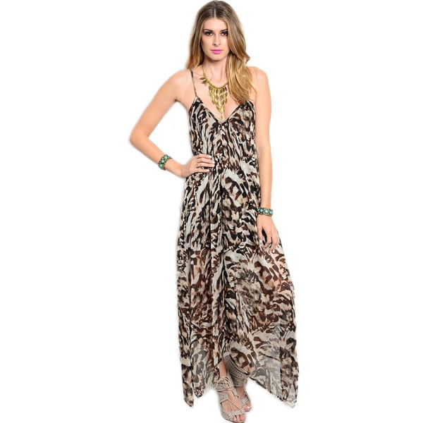 Shop The Trends Women's Spaghetti Strap V-neck Animal Print Chiffon Maxi Dress