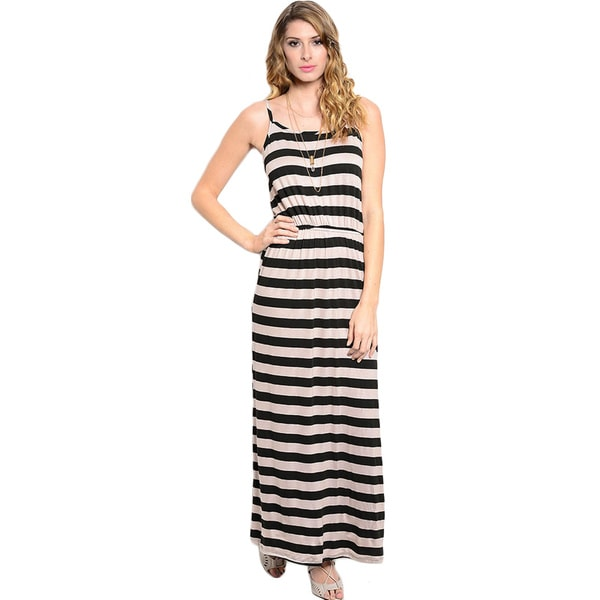 Shop The Trends Women's Spaghetti Strap Nautical Stripe Knit Maxi Dress