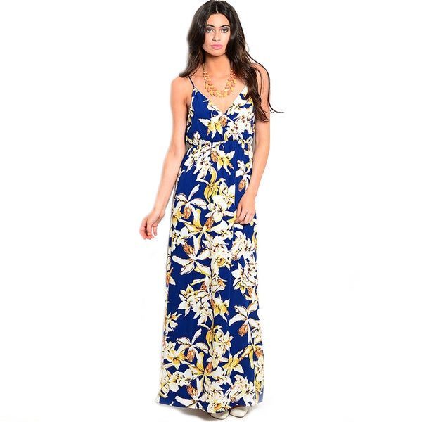 Shop The Trends Women's Spaghetti Strap V-Neckline Floral Knit Maxi Dress