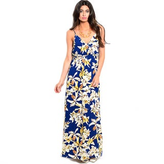 Shop The Trends Women's Spaghetti Strap V-Neckline Floral Knit Maxi Dress