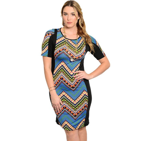 Shop The Trends Women's Plus Size Short Sleeve Zig-zag Pattern Bodycon Dress