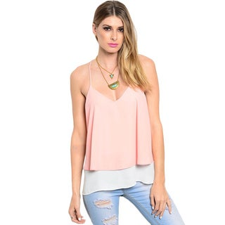 Shop The Trends Women's Spaghetti Strap Double Layered Racer Back Top