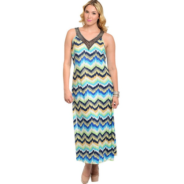 Shop The Trends Women's Plus Size Sleeveless Halter Zig-zag Print Maxi Dress