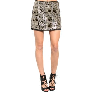Shop The Trends Women's Sequin Geometric Pattern Mini Skirt