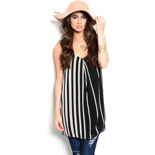 Shop The Trends Women's Vertical Stipes Chiffon Tunic Top