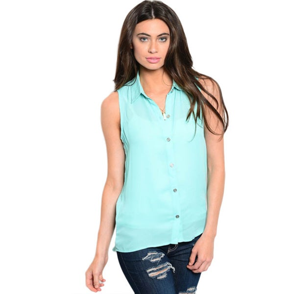 Shop The Trends Women's Sleeveless Button Down Faux Corset Back Shirt