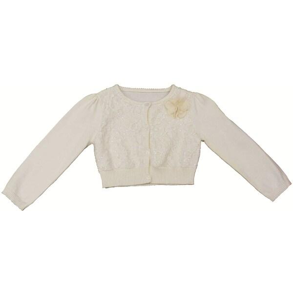 Mia Juliana Girls' Sequin Lace Sweater Cardigan