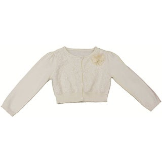 Mia Juliana Girls' Sequin Lace Sweater Cardigan