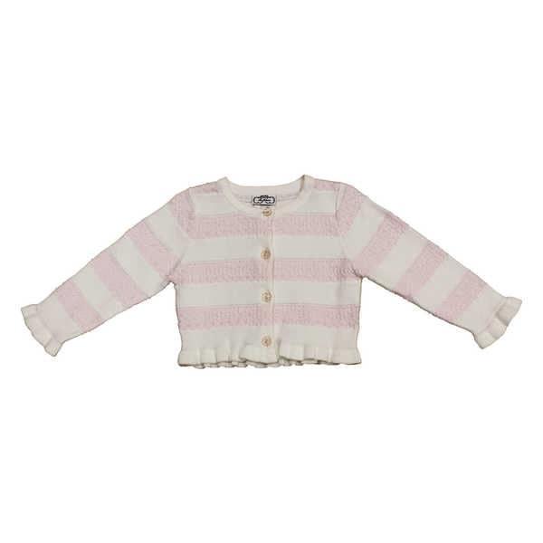 Mia Juliana Baby Girls' Crochet Stripe Sweater Cardigan