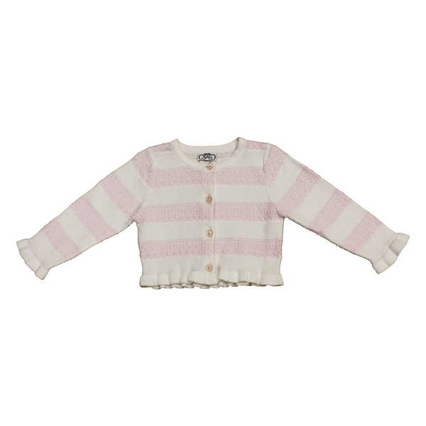 Mia Juliana Little Girls' Crochet Stripe Sweater Cardigan