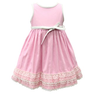Mia Juliana Little Girls' Lightweight Corduroy Dress with Lace Hem