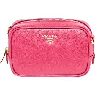 Prada Peony Pink Saffiano Leather Mini Zip Crossbody
