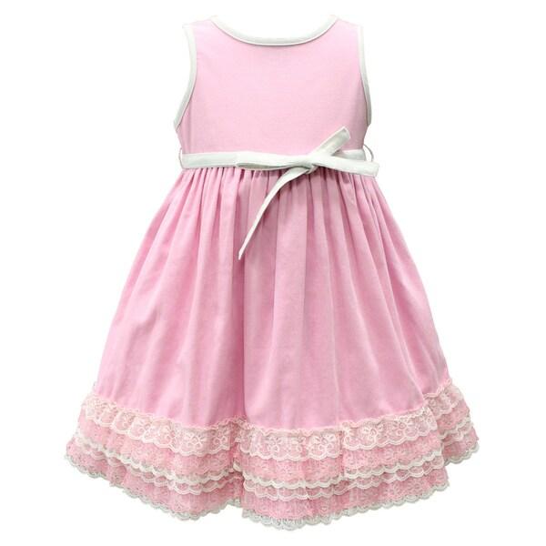 Mia Juliana Baby Girls' Lightweight Corduroy Dress with Lace Hem