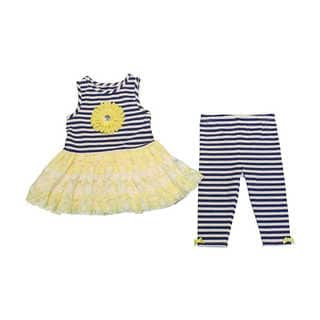 Mia Juliana Baby Girls' Stripe Knit Legging Set with Lace Skirt