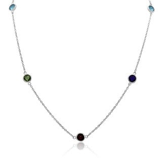 Sterling Silver Round-Cut Briolette Gemstone Station Necklace
