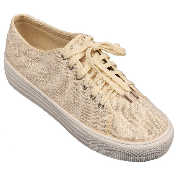 Women's 'Albi-2' Netted Glitter PU Lace Up Platform Sneakers