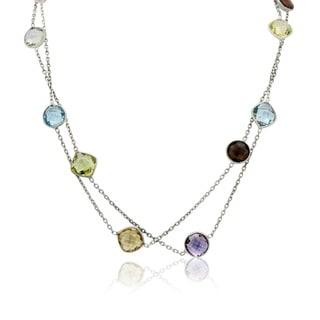 Sterling Silver Multi Briolette Gemstone Station Necklace