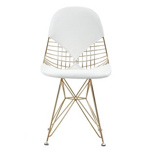 GLAM Eiffel Mid-century Style Chair In Gold and White Vegan Leather (Set Of Two)