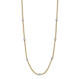 Fremada 14k Two-tone Gold Beads and Popcorn Chain Saturn Necklace (18 inches)