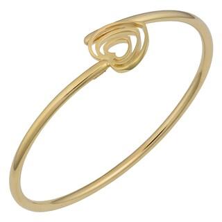 Fremada 14k Yellow Gold High Polished Heart Bypass Bangle