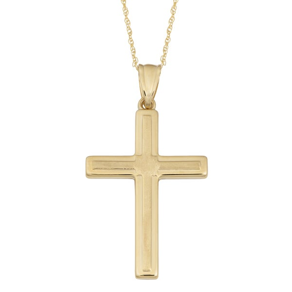 Fremada 14k Yellow Gold High Polish and Satin Finished Cross Pendant on Delicate Rope Chain Necklace