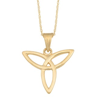 Fremada 14k Yellow Gold Celtic Angel Pendant on Rope Chain Necklace (18 inches)