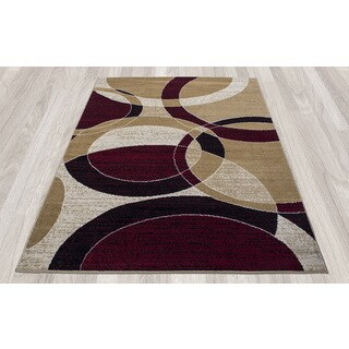 Ottomanson Paterson Collection Gold Contemporary Circles Area Rug (5' x 7')