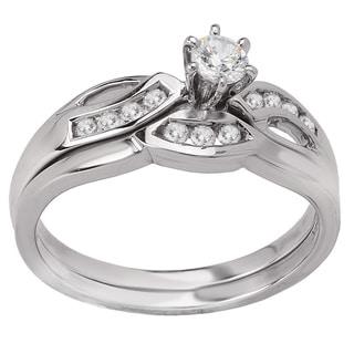 Avanti 14k White Gold 1/3ct TDW Diamond Contour Bridal Ring Set (G-H, SI1-SI2)