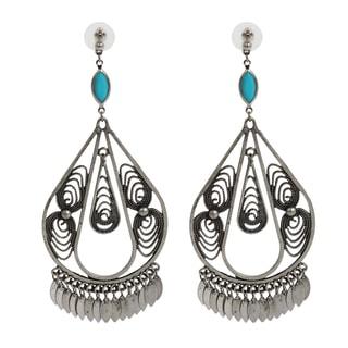 NEXTE Jewelry Antique Silvertone Indian Style Dangle Earrings