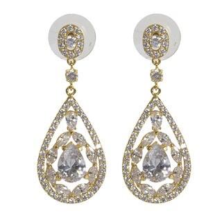 NEXTE Jewelry Rhodium-plated Cubic Zirconia Trifecta Dangle Earrings