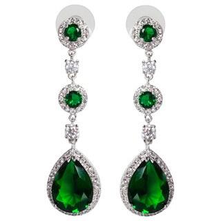 NEXTE Jewelry Triple-tiered Large Pear-cut Cubic Zirconia Dangle Earrings