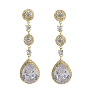 NEXTE Jewelry 3-tiered Large Pear Cubic Zirconia Dangle Earrings