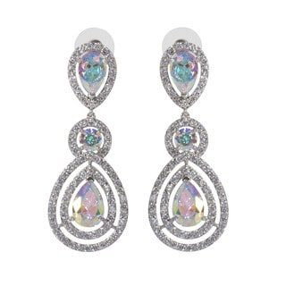 NEXTE Jewelry Silvertone Double Pear Opaque Cubic Zirconia Chandelier Cluster Earrings